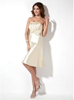 A-Line/Princess Strapless Knee-Length Charmeuse Bridesmaid Dress With Ruffle