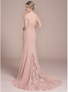 Trumpet/Mermaid Off-the-Shoulder Court Train Chiffon Lace Prom Dress With Beading Sequins