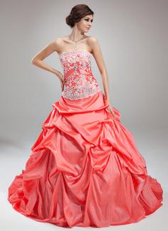 Платье для Балла Без лямок Церковный шлейф Тафта Свадебные Платье с Рябь кружева Булавка с хрустальным цветком