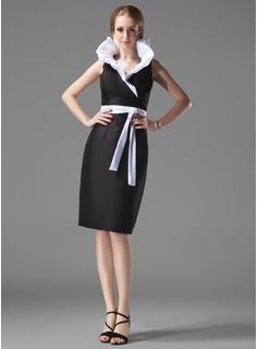 Sheath V-neck Knee-Length Taffeta Cocktail Dress With Ruffle Sash