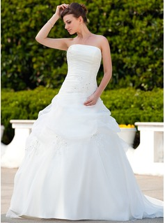 Ball-Gown Strapless Court Train Organza Wedding Dress With Ruffle Beading Appliques Lace