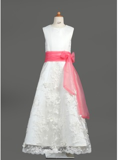 A-Line/Princess Scoop Neck Floor-Length Organza Satin Lace Flower Girl Dress With Sash