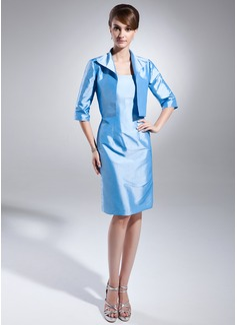 Wąska Bez ramiączek Do Kolan Taffeta Suknia dla Mamy Panny Młodej