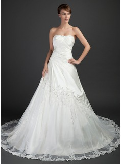 Ball-Gown Sweetheart Cathedral Train Tulle Charmeuse Wedding Dress With Ruffle Beading Appliques Lace