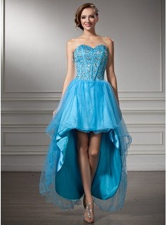 A-Line/Princess Sweetheart Asymmetrical Tulle Homecoming Dress With Beading Sequins