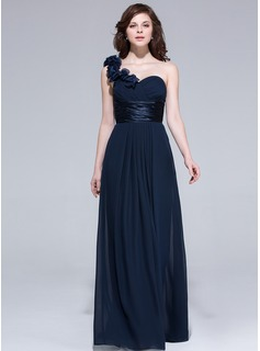 A-Line/Princess One-Shoulder Floor-Length Chiffon Bridesmaid Dress With Ruffle Flower(s)