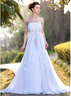 Empire Strapless Court Train Chiffon Wedding Dress With Ruffle Beadwork