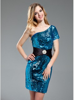 Sheath/Column One-Shoulder Short/Mini Satin Sequined Prom Dress With Sash Beading