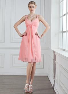 Vestidos princesa/ Formato A Coração Joelho de comprimento De chiffon Vestido de madrinha com Pregueado Bordado