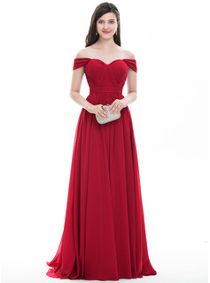 A-Line/Princess Off-the-Shoulder Sweep Train Chiffon Prom Dress With Ruffle