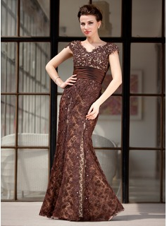 Trumpet/Mermaid V-neck Floor-Length Taffeta Lace Mother of the Bride Dress With Beading