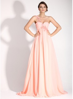Empire One-Shoulder Sweep Train Chiffon Holiday Dress With Ruffle Beading Appliques