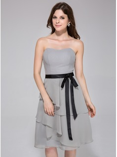 A-Line/Princess Sweetheart Knee-Length Chiffon Charmeuse Bridesmaid Dress With Sash Bow(s) Cascading Ruffles