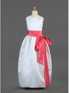 A-Line/Princess Scoop Neck Floor-Length Satin Flower Girl Dress With Sash Bow(s)