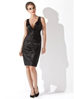 Sheath/Column V-neck Knee-Length Charmeuse Cocktail Dress With Ruffle
