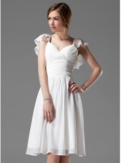 A-Line/Princess V-neck Knee-Length Chiffon Bridesmaid Dress With Ruffle Beading