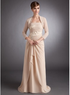 A-Line/Princess Strapless Sweep Train Chiffon Charmeuse Mother of the Bride Dress With Lace Beading Cascading Ruffles
