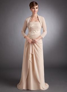 Vestidos princesa/ Formato A Sem Alças Sweep/Brush trem De chiffon Vestido para a mãe da noiva com Renda Bordado Babados em cascata