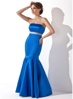 Trumpet/Mermaid Strapless Floor-Length Satin Bridesmaid Dress With Sash