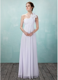 Väldet One-Shoulder Golvlång Chiffong Bröllopsklänning med Rufsar Blomma (or)