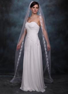 Een-rij Kapel Bruids Sluiers met Lace Stoffen Rand