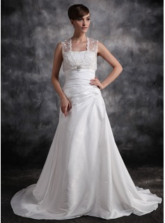A-Line/Princess Sweetheart Court Train Taffeta Wedding Dress With Ruffle Beadwork (002011420)