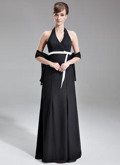 Çan/Prenses Yular Uzun Etekli Chiffon Satin Nedime Elbisesi