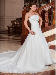 Ball-Gown Strapless Cathedral Train Satin Organza Wedding Dress With Ruffle Beading Bow(s)