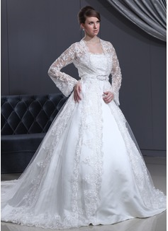 Corte de baile Estrapless Tren de la catedral Satén Vestido de novia con Encaje Lazo(s)