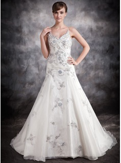 Ball-Gown V-neck Chapel Train Organza Satin Wedding Dress With Appliques Lace Sequins