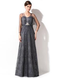 Linia A/Księżniczka Kochanie Do Podłogi Tulle Charmeuse Lace Suknia dla Mamy Panny Młodej Z Żabot Perełki Cekiny