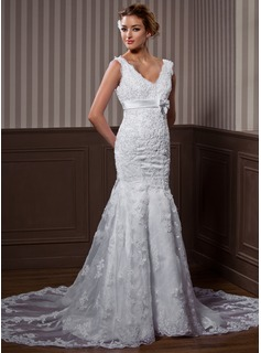 Trumpet/Mermaid V-neck Chapel Train Organza Satin Wedding Dress With Lace Beading Bow(s)