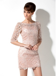 Sheath/Column Scoop Neck Short/Mini Lace Mother of the Bride Dress