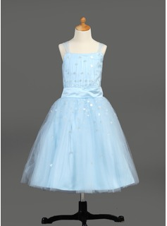 A-Line/Princess Tea-length Flower Girl Dress - Satin/Tulle Sleeveless With Ruffles/Sequins