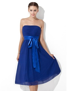 Empire Strapless Knee-Length Chiffon Charmeuse Bridesmaid Dress With Ruffle Sash