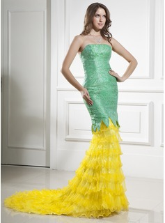 Trumpet/Mermaid Strapless Court Train Organza Satin Lace Prom Dress With Ruffle Cascading Ruffles