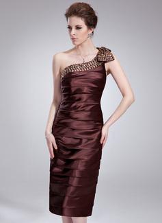 Etui-Linie One-Shoulder-Träger Knielang Charmeuse Cocktailkleid mit Rüschen Perlen verziert