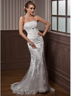 Trumpet/Mermaid Strapless Court Train Tulle Charmeuse Wedding Dress With Ruffle Lace Crystal Brooch