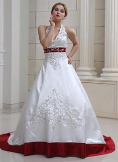 Balklänning Grimma Court släp Satäng Bröllopsklänning med Broderad Pärlbrodering Paljetter