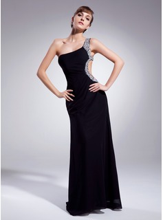 Sheath One-Shoulder Sweep Train Chiffon Prom Dress With Ruffle Beading