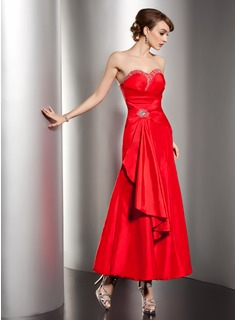 A-Line/Princess Sweetheart Ankle-Length Taffeta Holiday Dress With Ruffle Beading