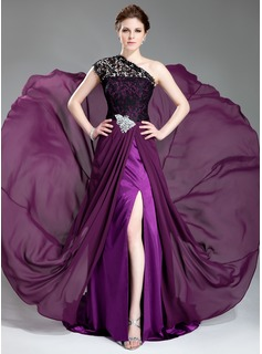 A-Line/Princess One-Shoulder Court Train Chiffon Lace Prom Dress With Beading Split Front