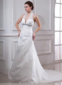 A-linjeformat Grimma Court släp Satäng Organzapåse Bröllopsklänning med Pärlbrodering Applikationer Spetsar