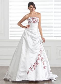 Forme Princesse Sans bretelle Traîne mi-longue Satiné Robe de mariée avec Broderie Emperler