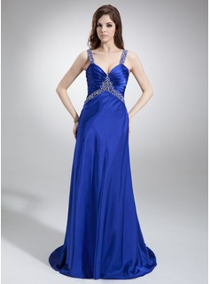 A-Line/Princess V-neck Sweep Train Charmeuse Prom Dress With Ruffle Beading