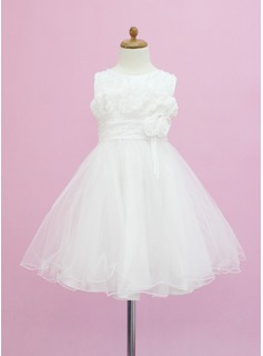A-Line/Princess Scoop Neck Tea-Length Tulle Flower Girl Dress With Beading Flower(s)