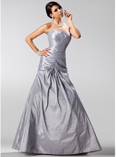 A-Line/Princess Strapless Floor-Length Taffeta Holiday Dress With Ruffle