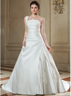 Ball-Gown One-Shoulder Chapel Train Satin Wedding Dress With Ruffle Lace Beading