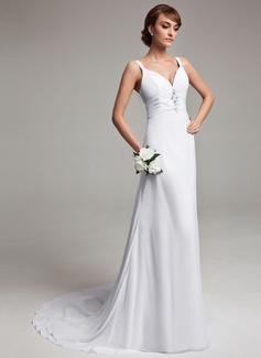 A-linjeformat V-ringning Court släp Chiffong Bröllopsklänning med Rufsar Pärlbrodering