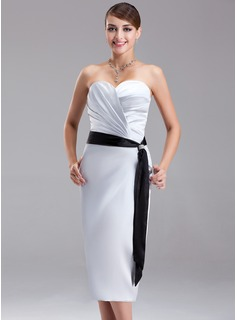 Sheath/Column Sweetheart Knee-Length Charmeuse Bridesmaid Dress With Ruffle Sash Beading